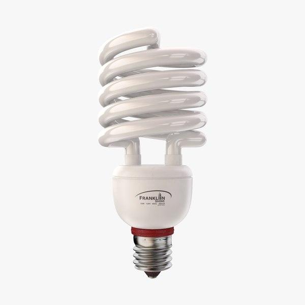 3d model fluorescent light bulb