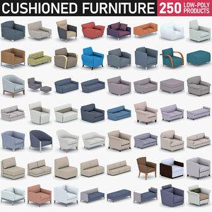 3D model soft furnishings - sofa armchair