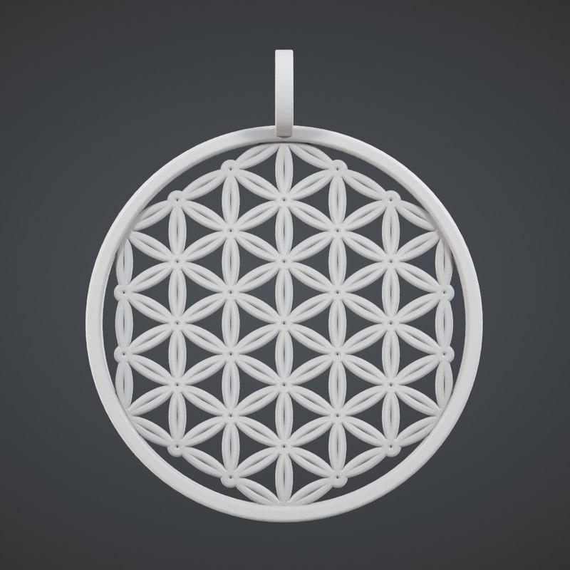 flower life pendant print 3d obj