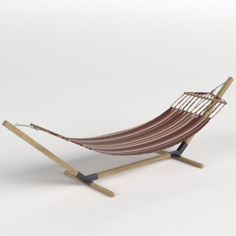 3D hammock wooden stand model