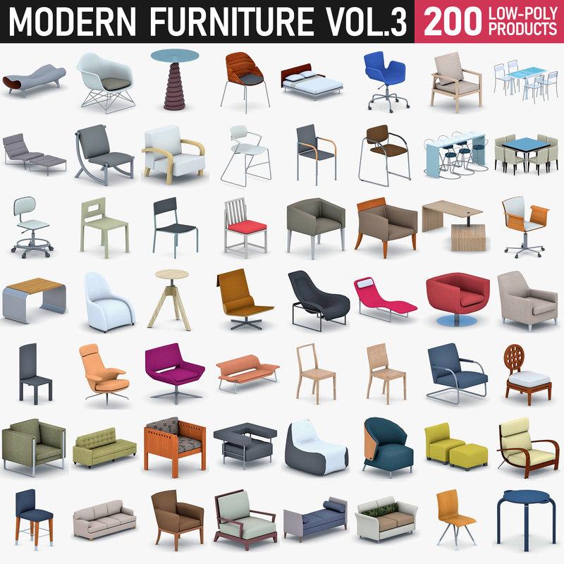 modern furniture - 200 3D model