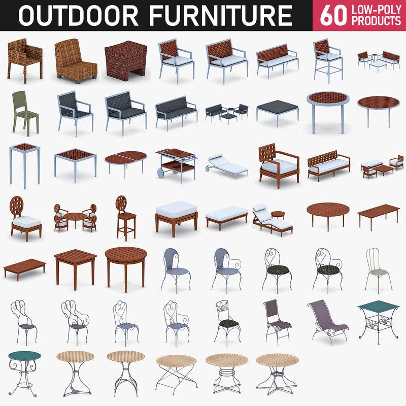 outdoor furniture - 60 3D model