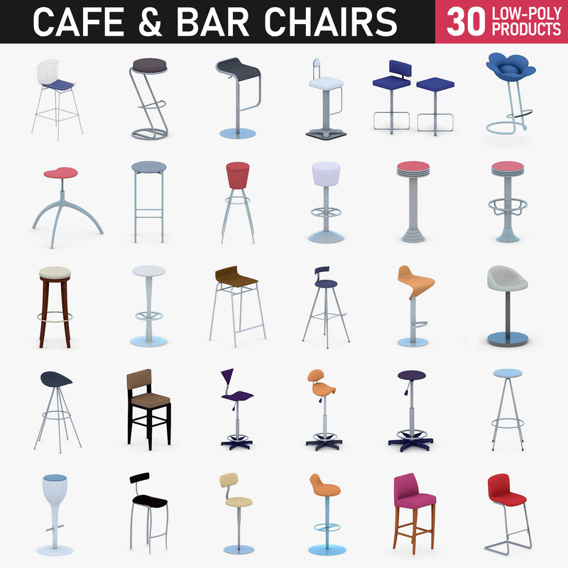 cafe restaurant bar chairs 3D