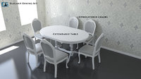 3D model elegant dining set table chairs