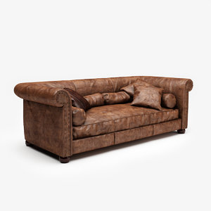 baxter alfred leather sofa 3D model