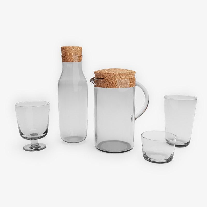 3d set ikea 365 glassware model