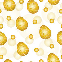 seamless pattern with golden Easter eggs