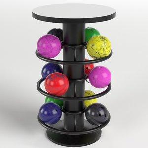 3D model bowling table rack 1