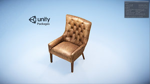 3D model hayes tufted leather chair