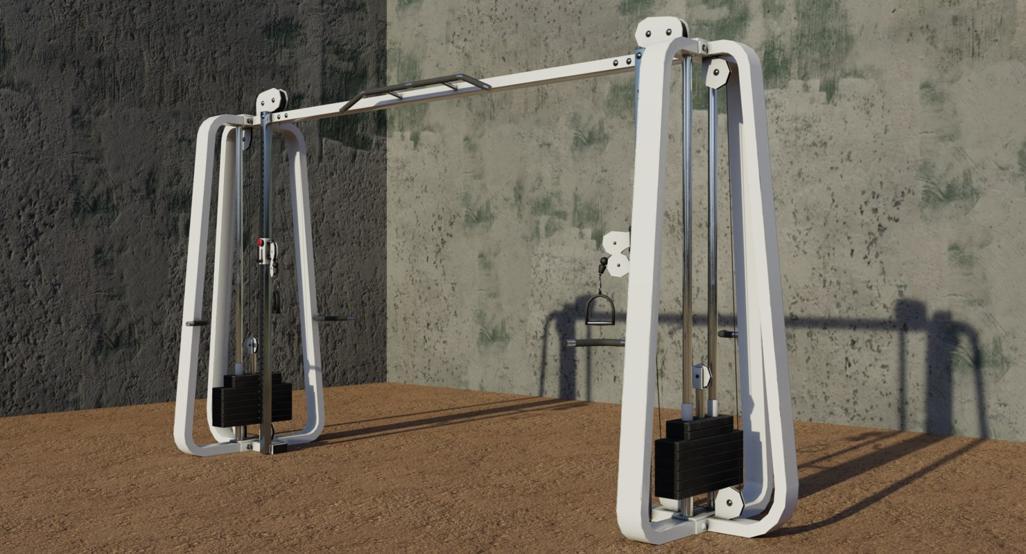gym cablecrossover machine 3D model