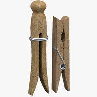 3d model wooden peg clothespins