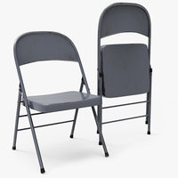 metal folding chair 3d model