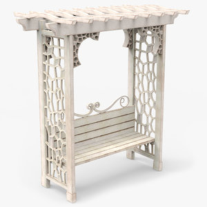 garden arbor bench obj
