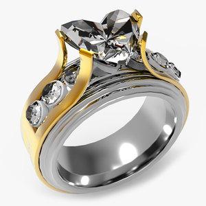 diamond engagement ring obj