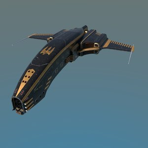 3D space ship dagger type model