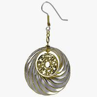 pair cyclide ritual earrings 3d model