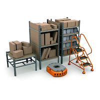 commercial warehouse pack shelves 3d lwo