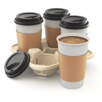 Takeout Coffee Cup with Lid and Holder