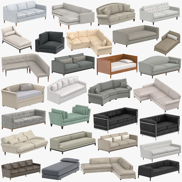 3D sofas sectional classical model