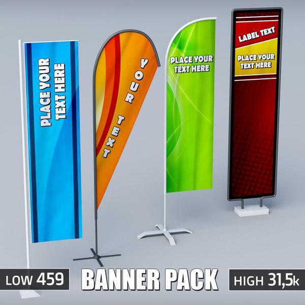 3d pack banner commercial flag