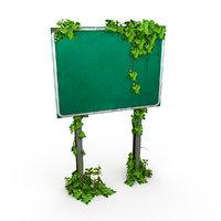 overgrown road sign 3D model