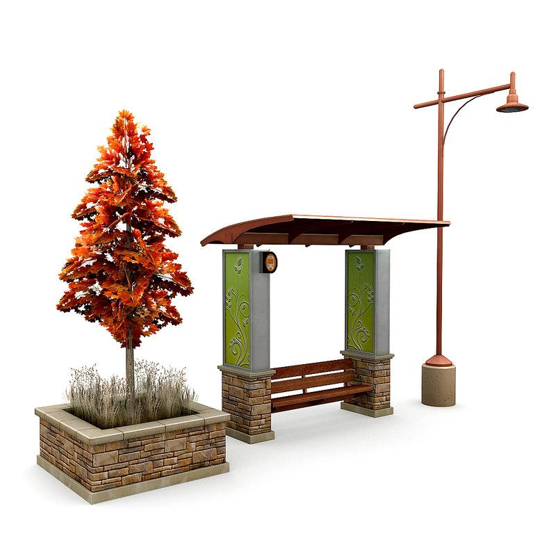 3D street elements tree model