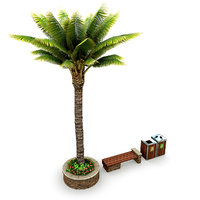 3D model street elements palm tree