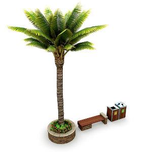 3D model street elements palm tree