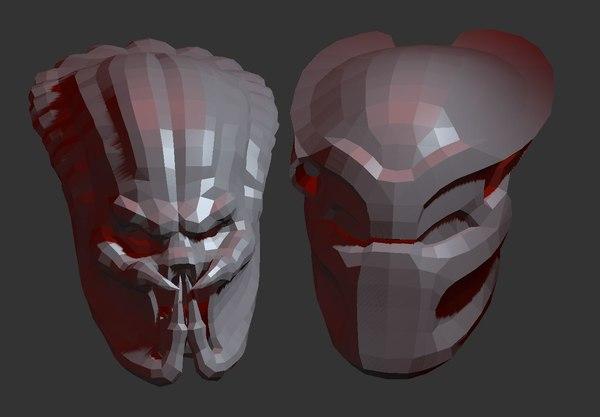 3D predator head pepakura model