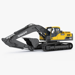 tracked excavator ec300d rigged 3D