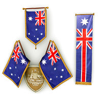 australian flags pack 3D model