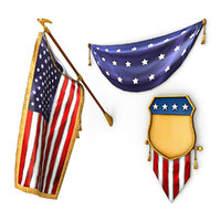 american flags pack 3D model