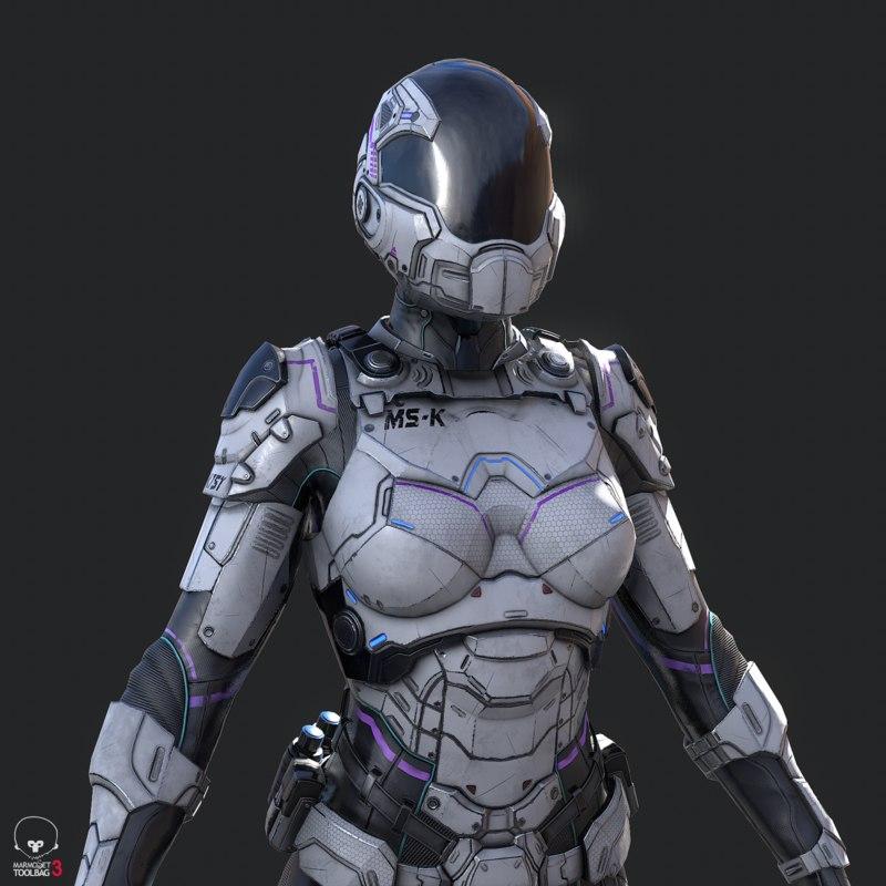 female sci-fi soldier 3D