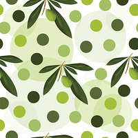 seamless pattern with green olive tree and polka dots