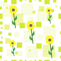 seamless tileable texture with yellow sunflowers and green squares