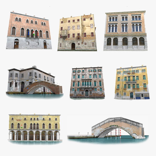 3d model real-time venice houses old