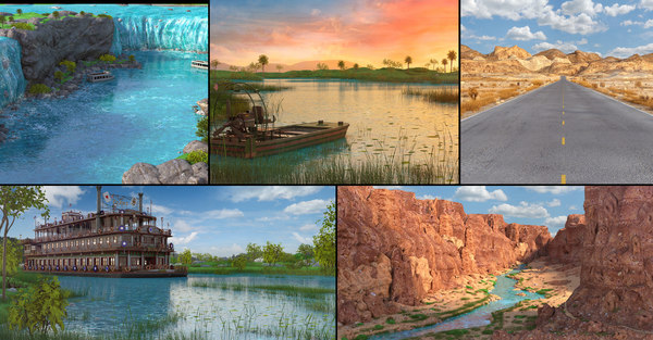 3D model usa landscapes river