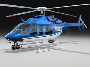 3d model of bell 407 police helicopter