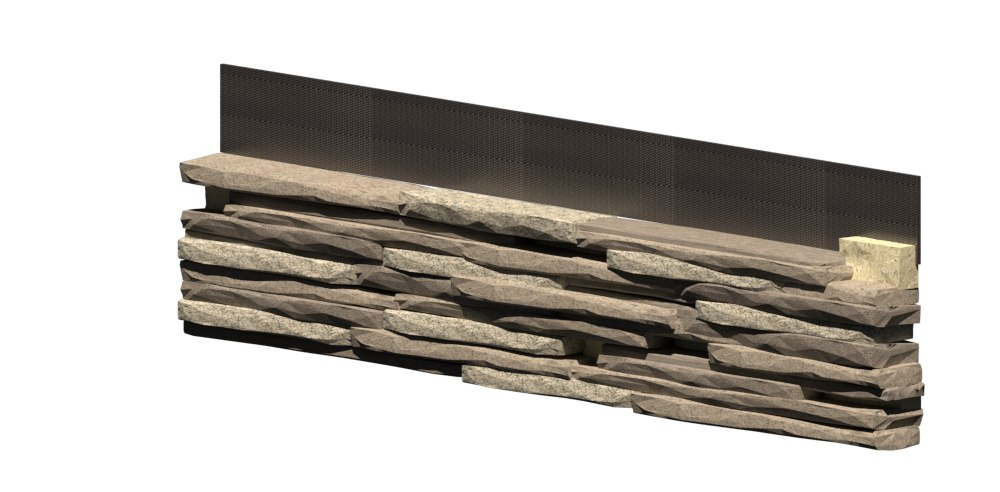 granite stone wall 3D model
