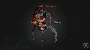 3D starwars droideka droid