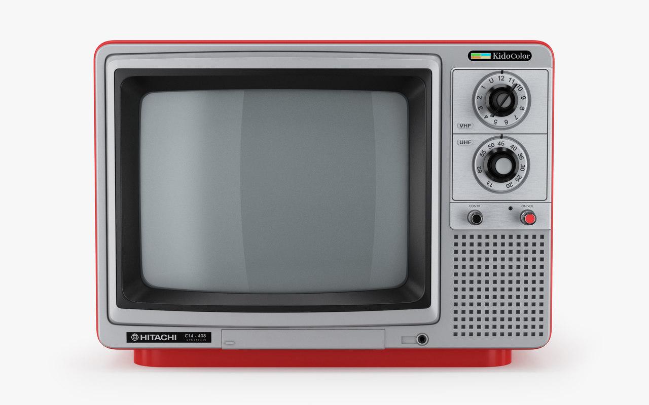 retro tv hitachi kidocolor 3D model