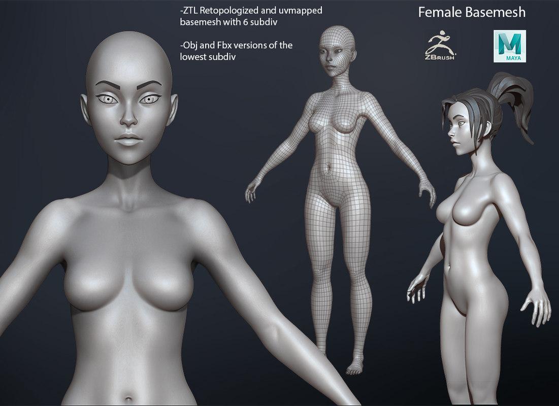 3D female basemesh mesh model