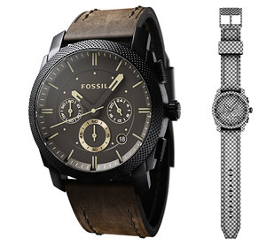max watch fossil leather straps
