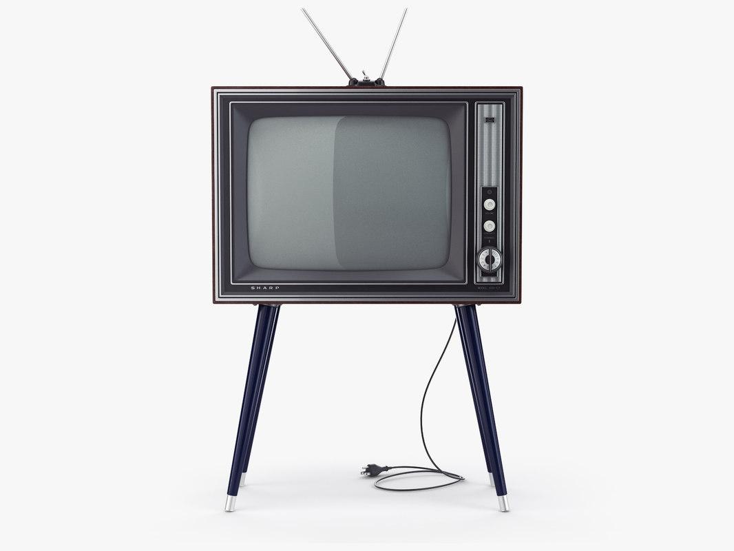 retro tv sharp ier-c7 3D