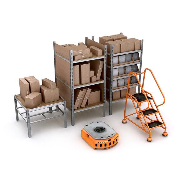 commercial warehouse pack shelves 3d lwo