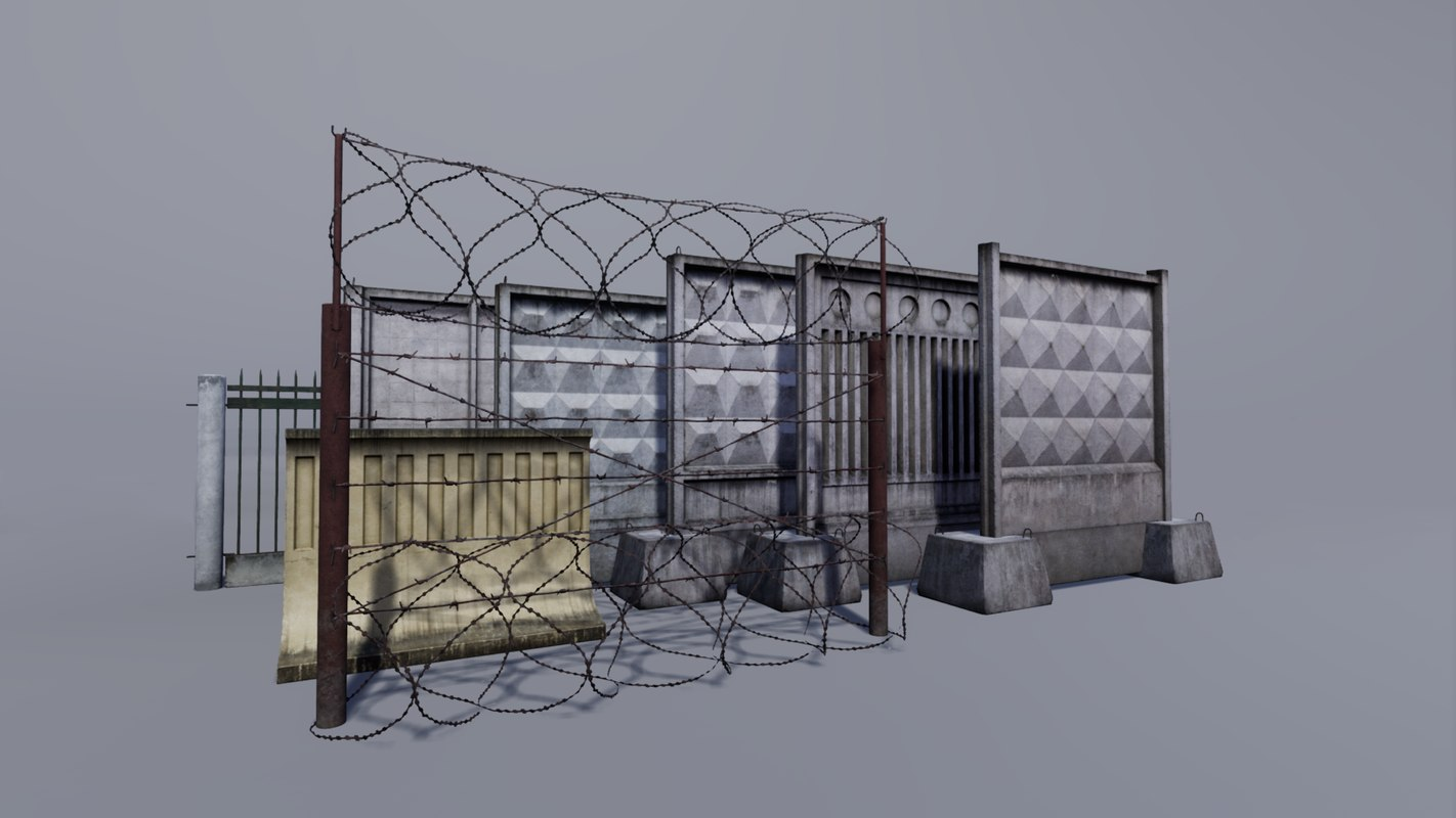 3D model concrete metallic fence
