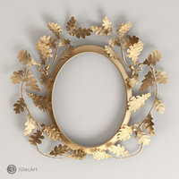 3D model of an oval frame with oak leaves