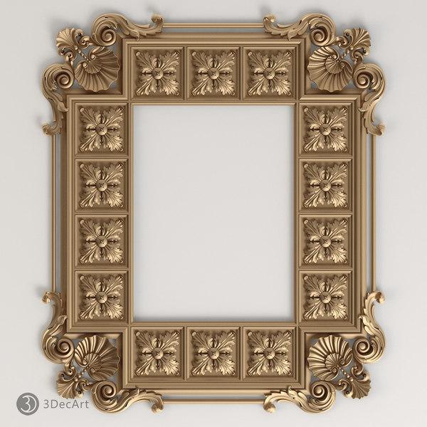 carved frame cnc 3d model