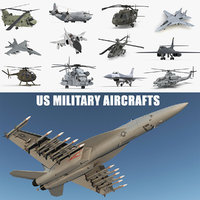 US Military Aircrafts 3D Models Collection