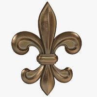 bronze fleur-de-lis 3D model